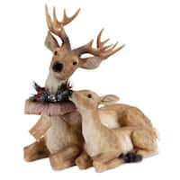 "17"" Sitting Deer and Fawn with Snow Flocked Burlap Bow Christmas Decoration"