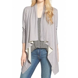 Caslon NEW Gray Women's Size Small S Draped Open Front Cardigan Sweater