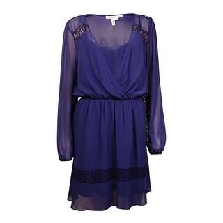 BCBGeneration Women's Lace-Trim Chiffon Peasant Dress (M, Navy Sea) - navy sea