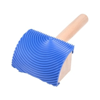 """Wood Grain Tool 3"""" w Wooden Handle Rubber Graining Pattern Stamp Wall Decoration - MS19B-2.5-inch Wooden Handle"""