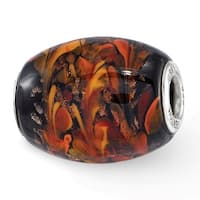 Sterling Silver Reflections Black & Orange Autumn Fires Fenton Glass Bead (4.5mm Diameter Hole)