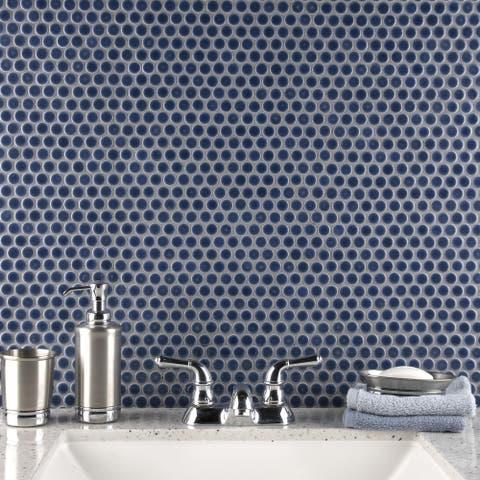 "SomerTile Hudson Penny Round Denim Blue 12"" x 12.63"" Porcelain Mosaic Tile"