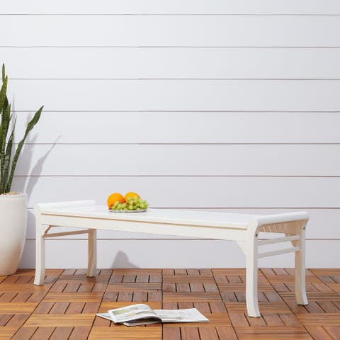 Surfside Cochran 5-foot White Outdoor Wood Bench by Havenside Home