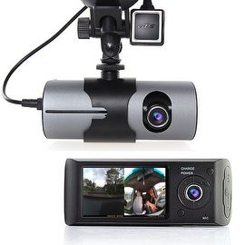 "Indigi® XR300 Car DVR DashCam w/ Dual Cameras (Front+Rear) Driving Recorder with 2.7"" LCD w/ GPS Tracker & 32gb microSD - Black"