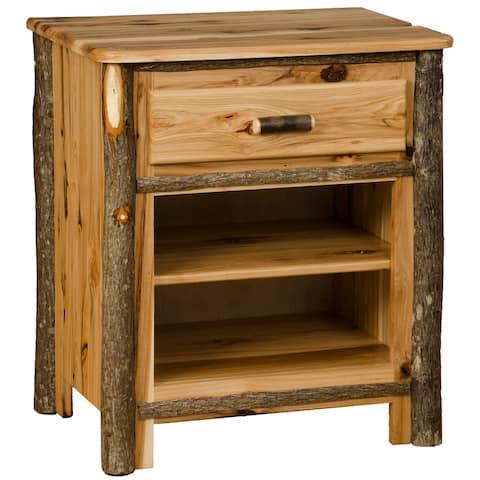 Hickory Log Nightstand with Shelves