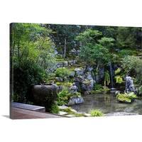 Premium Thick-Wrap Canvas entitled Zen garden with washbasin and waterfall, Jikko-in
