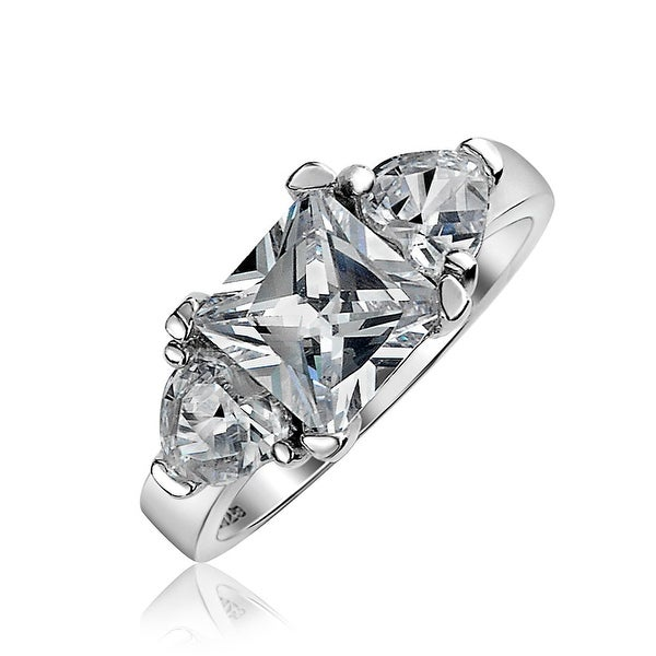 5f166a4603 3 CT Cubic Zirconia Square Solitaire Princess Cut Heart CZ Engagement  Promise Ring For Women 925