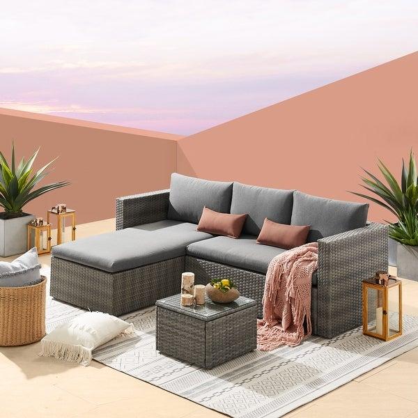 3-Pieces Wicker Outdoor Sofa Set. Opens flyout.