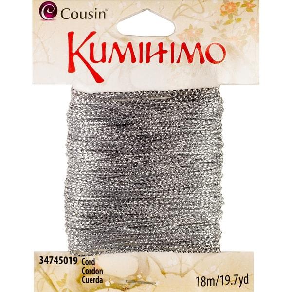 Kumihimo Cord .5mmX19.7yd-Metallic Silver