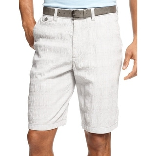 Tasso Elba Big and Tall Island Plaid Seersucker Shorts Grey and Blue Combo 42