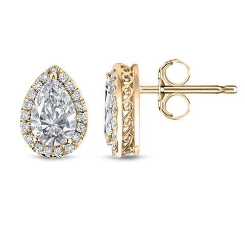 Auriya 14k Gold Vintage Pear-cut Diamond Halo Stud Earrings 2 1/3ctw