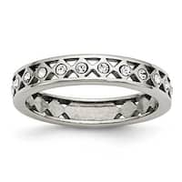 Chisel Stainless Steel Polished Crystal 4.5mm Band