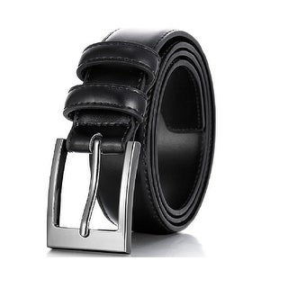 Men Genuine Leather Dress Classic Style Belt with Single Prong Buckle - Stitch Lining