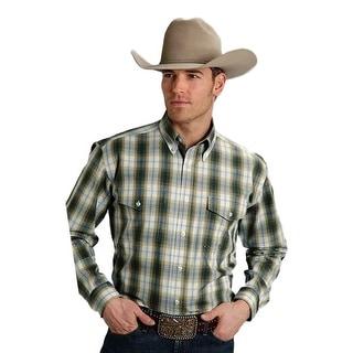 Roper Western Shirt Mens L/S Plaid Sea Green 03-001-0678-6027 GR