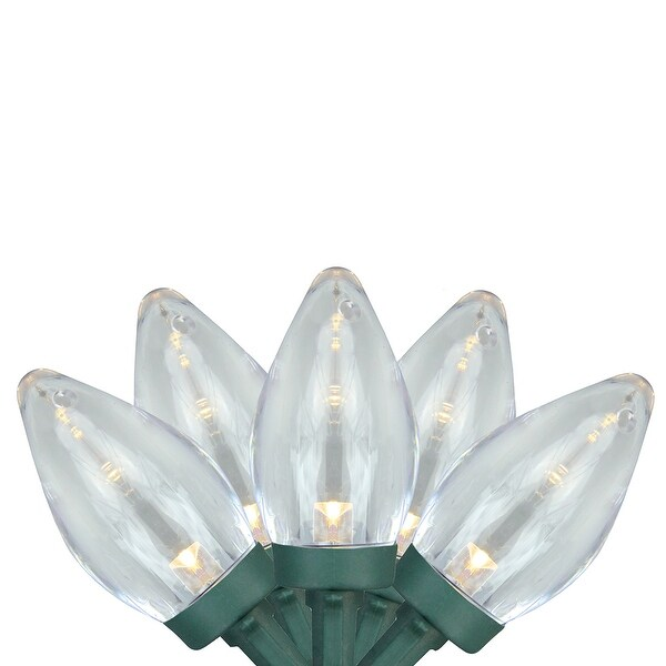 Set of 25 Warm White LED C7 Christmas Lights - Green Wire
