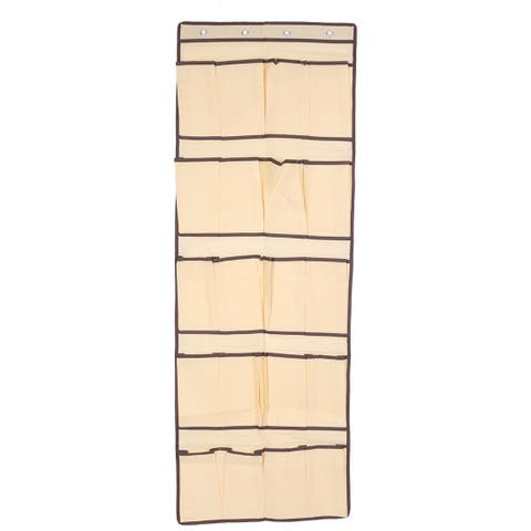 """Unique Bargains Home Non-woven Fabric Door Wall Hanging 20 Pockets Shoes Socks Organizer Beige 53.5"""" x 18.9"""" (LxW)"""