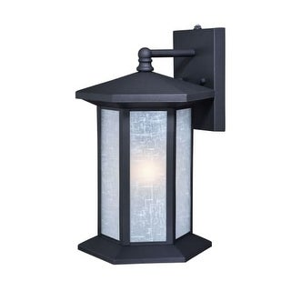 """Vaxcel Lighting T0221 Halsted Single Light 14"""" Tall Photocell Outdoor Wall Sconce with White Linen Glass Shade"""