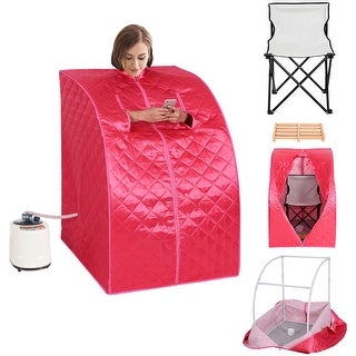 Costway Portable 2L Steam Sauna Spa Full Body Slimming Loss Weight Detox Therapy w/Chair - Pink