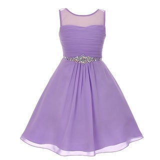41be93bbaf9 Shop Girls Lilac Glitter Rhinestone Chiffon Flower Girl Dress 8-16 - Free  Shipping Today - Overstock - 18165494