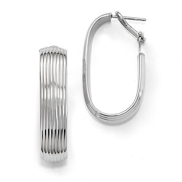 Italian 14k White Gold Polished Hoop Earrings