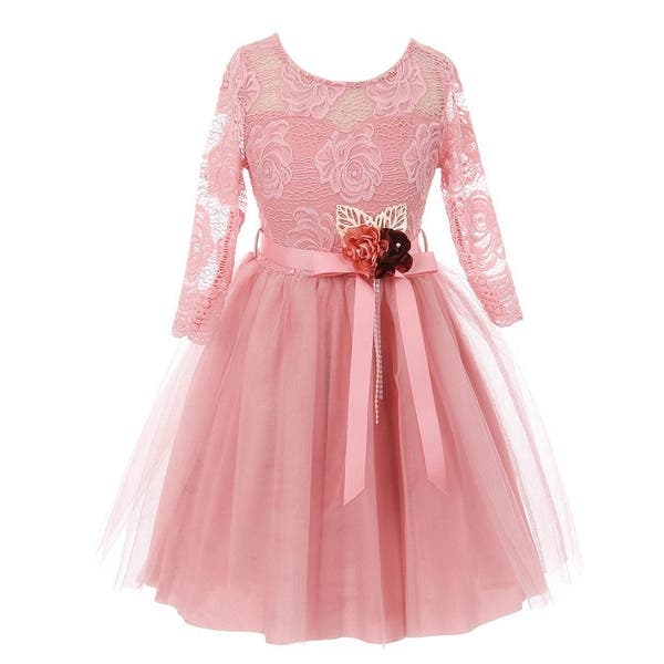 6369f0cce17 Shop Girls Pink Rose Floral Lace Long Sleeve Mesh Flower Girl Dress ...
