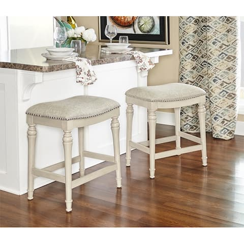 Powell Hayes White Wood Counter Stool