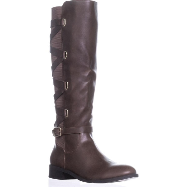 TS35 Veronika Wide Calf Riding Boots, Brown