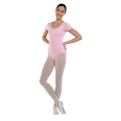 Danshuz Womens Pink Cap Sleeve Design Classic Cotton Blend Leotard P-XL