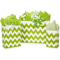 (125 pack) Assortment Chevron Stripe Apple Green Recycled Shopping Bags 50 Rose, 50 Cub & 25 Vogue
