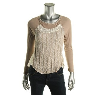 Almost Famous Womens Juniors Boucle Lace Inset Casual Top
