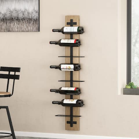 """Toston Modern Industrial 8 Bottle Wall Mounted Wine Rack by Christopher Knight Home - 11.80"""" L x 4.50"""" W x 46.50"""" H"""