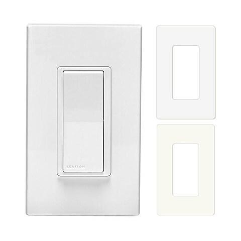 Leviton 120VAC Digital Switch Remote w/ 2 Snap-On Wallplates (White & Almond) - White