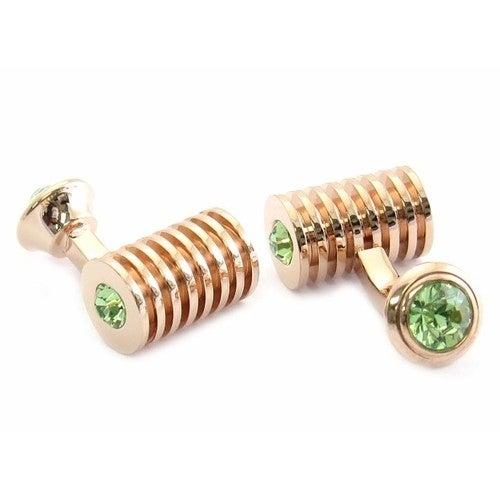 Rose Gold Peridot Swarovski Double Cufflinks Green