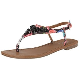 Wild Pair  Womens Frazier Thong Sandals Faux Leather T-Strap