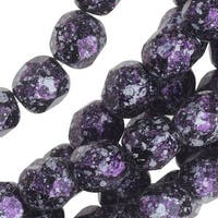 Czech Fire Polished Glass, Faceted Round Beads 6mm, 25 Pieces, Tweedy Violet