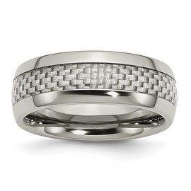Chisel Stainless Steel and Grey Carbon Fiber 8mm Polished Band