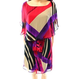 S.L. Fashions NEW Red Claret Women's Size 12 Blouson Chiffon Belt Dress