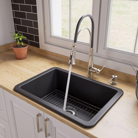 "Black Matte 27"" x 18"" Fireclay Undermount / Drop In Firelcay Kitchen Sink"