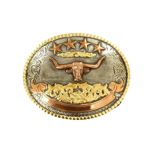 Crumrine Western Belt Buckle Adult Longhorn 4 1/2x3 3/4 Silver - 4 1/2 x 3 3/4