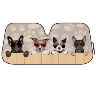 KM WORLD Licensed DOGS WITH SUNGLASSES Auto Shade Cool Trending Puppy Pal Pet Designs Sunshade with Reversible Silver Backing