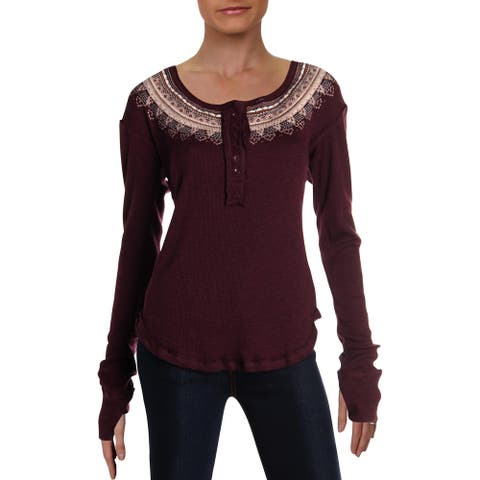 We The Free Womens Henley Top Embroidered Ribbed