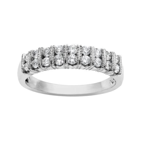 1/2 ct Diamond Double Row Band in 10K White Gold