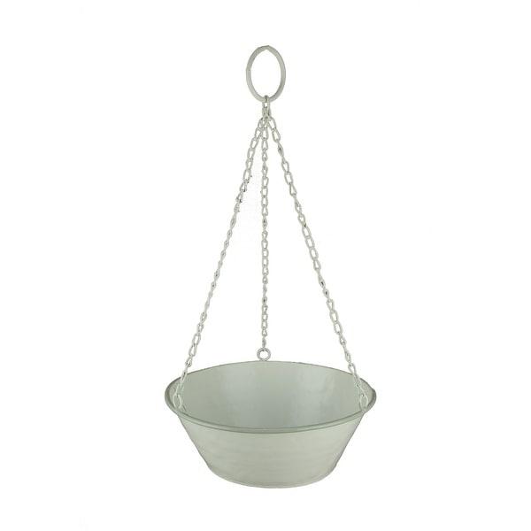 White Enamel Metal Bowl Hanging Planter - 4 X 10.5 X 10.5 inches