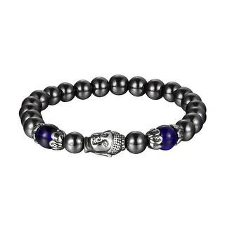 Hematite Deep Gray Bead Bracelet Buddha Head Link Stainless Steel 8.5 Inch