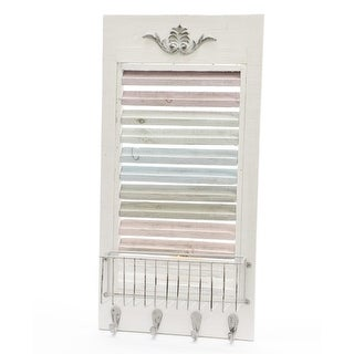 "23.75"" New Romance Decorative Multicolored Weathered Wooden Wall Rack with Wire Basket and Hooks"