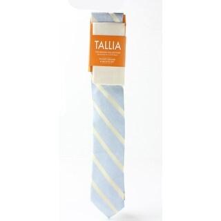 Tallia NEW Yellow Blue One Size Striped Linen Neck Tie & Pocket Square