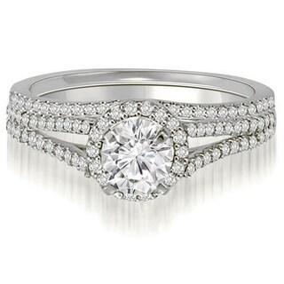 1 25 CT Petite Halo Split Shank Round Diamond Bridal Set In 14KT Gold White H I