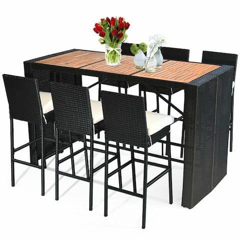 7 PCS Patio Rattan Wicker Dining Furniture Set - Black
