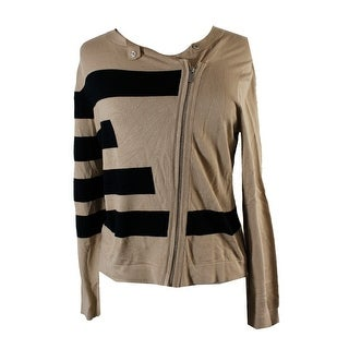 Grace Elements Tan Black Asymmetrical-Zip Sweater Jacket XS