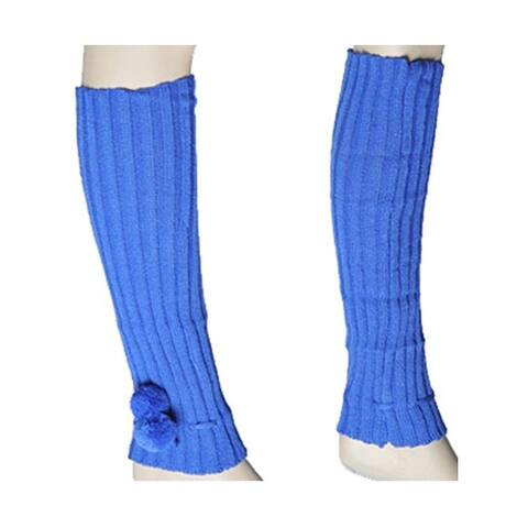 Women's Royal Blue Solid Color Knit Leg Warmer w/Pom-Pom Accents LW1020